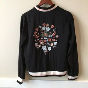 NWT EDC Black Floral Embroidery Front-Zip bomber
